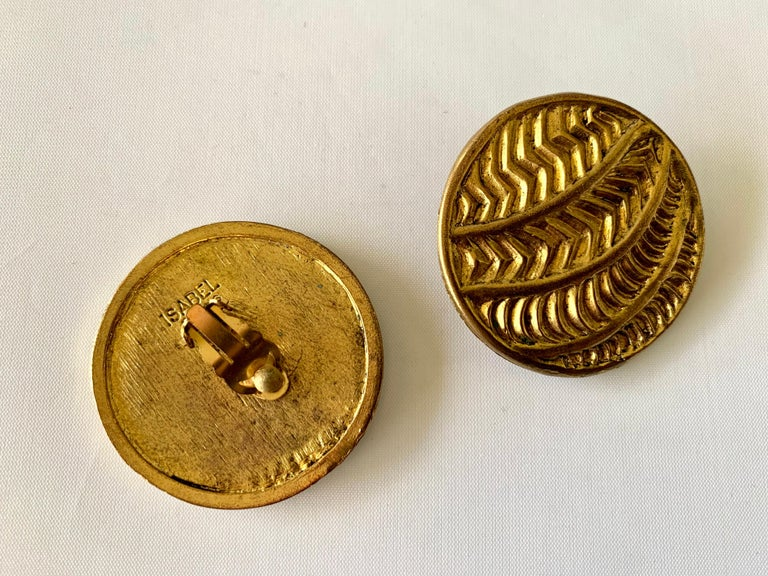 Vintage Oversized Round Texture Statement Earrings by Isabel Canovas For Sale 1