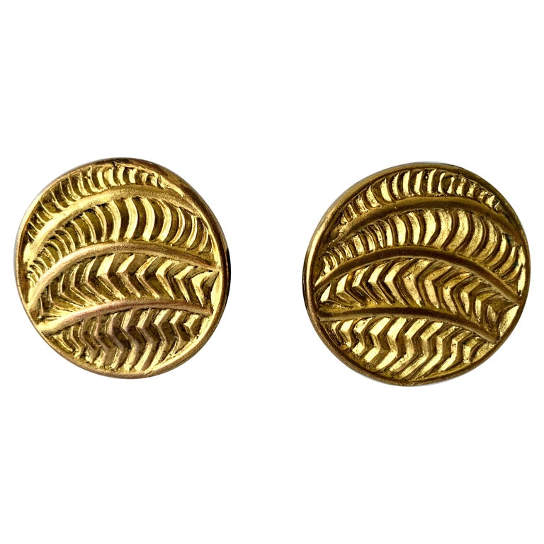 Vintage Oversized Round Texture Statement Earrings by Isabel Canovas For Sale