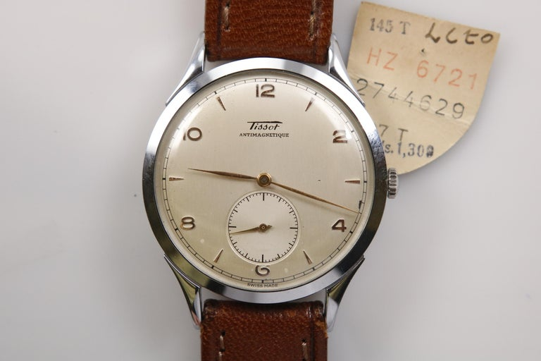 Vintage Oversized Stainless Steel Tissot Antimag Ref 6721-4 Wristwatch, 1950 For Sale 3