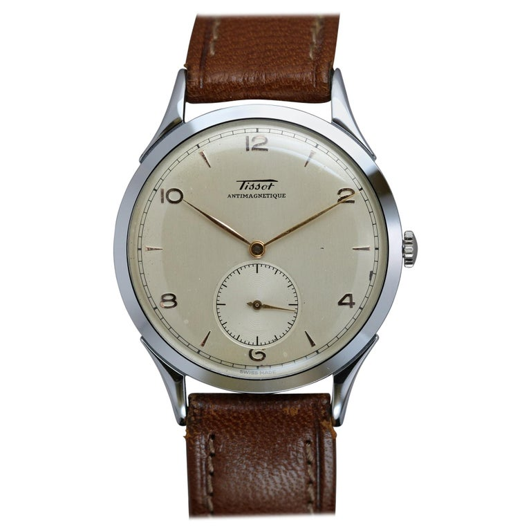 Vintage Oversized Stainless Steel Tissot Antimag Ref 6721-4 Wristwatch, 1950 For Sale