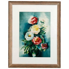 Vintage Oversized Watercolor Floral Still Life Painting Artist Signed circa 1950