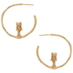 Vintage Owl Hoop Earrings 14 Karat Yellow Gold Diamond Eyes Estate Jewelry