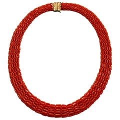 Vintage Oxblood Coral Woven Bead Multi-Strand Necklace with Sterling Clasp
