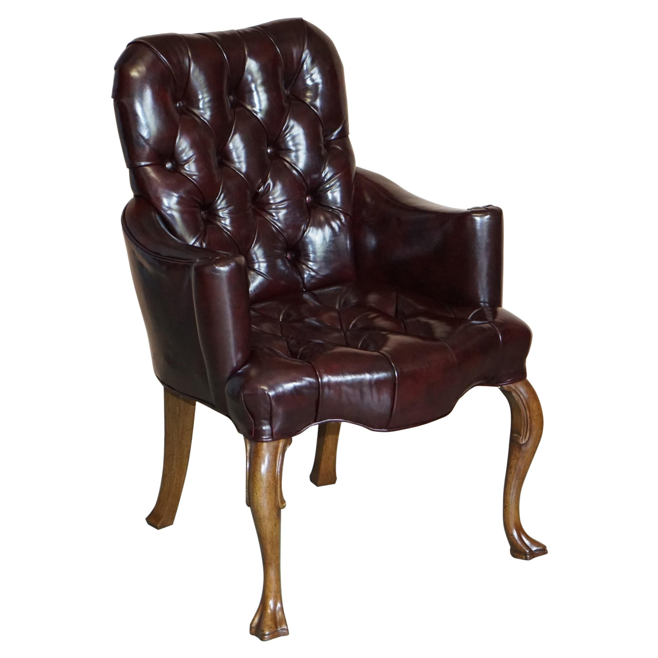 Vintage Oxblood Leather Chesterfield Tufted Office Captains Occasional Armchair