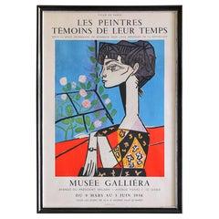 Vintage Pablo Picasso Exhibition Poster in Antique Frame, France, 1956