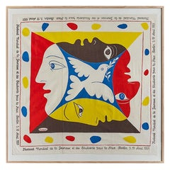 Vintage Pablo Picasso Printed Textile Scarf in Antique Frame, Germany, 1951