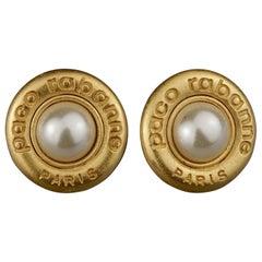 Vintage PACO RABANNE Logo Pearl Earrings