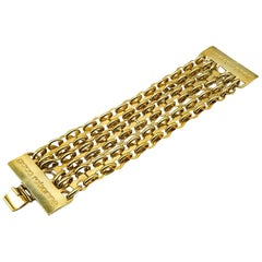 Vintage Paco Rabanne Sculptural Gold Chain Logo Cuff Bracelet 1970s