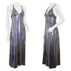 Vintage PACO RABANNE Silver Metallic Mesh Grid Long Dress