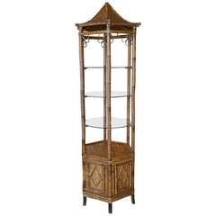 Vintage Pagoda Rattan Bamboo Etagere Display Shelf Glass Shelves Cabinet Bottom