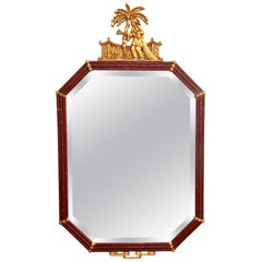 Vintage Paint Decorated Chinoiserie Mirror with Gilt Gold Pagoda Top
