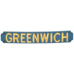 Vintage Painted and Gilt Lettered Greenwich Sign