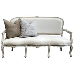Vintage Painted and Upholstered Louis XV Style Open Arm Sofa Settee