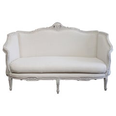 Vintage Painted and Upholstered Louis XV Style Settee