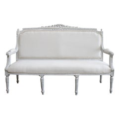Vintage Painted and Upholstered Louis XVI Style Open Arm Settee