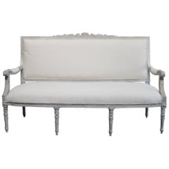Vintage Painted and Upholstered Louis XVI Style Open Arm Sofa Settee