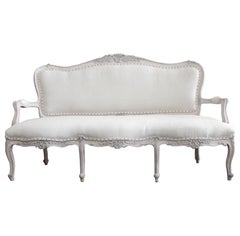 Vintage Painted and Uphostered Louis XV Style Open Arm Settee