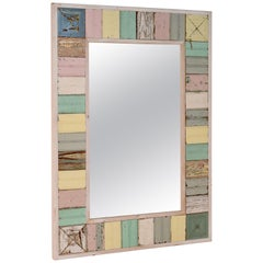 Vintage Painted Bead Board Mirror