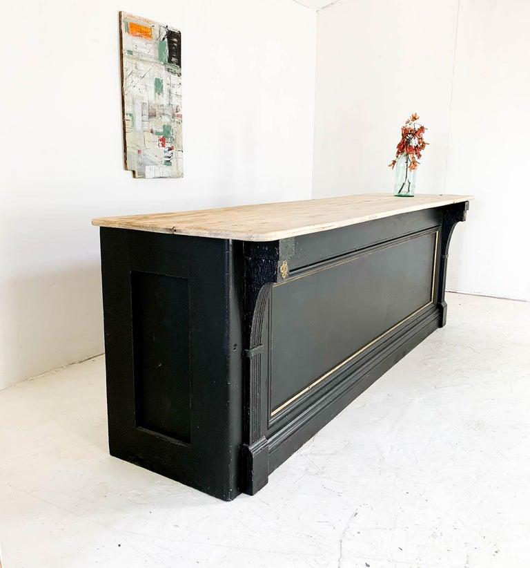 Vintage Painted Black Haberdashery Shop Counter Kitchen Island 9