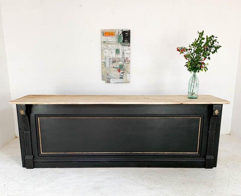 Vintage Painted Black Haberdashery Shop Counter Kitchen Island 10