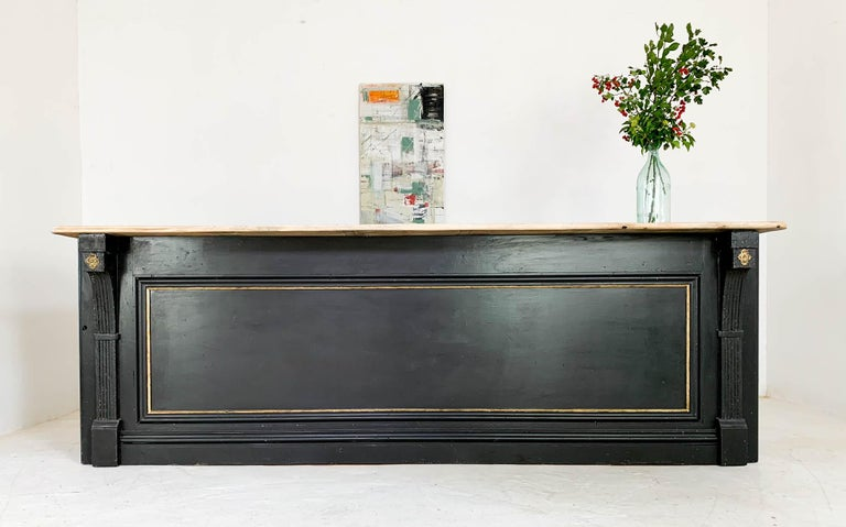 Vintage Painted Black Haberdashery Shop Counter Kitchen Island 11