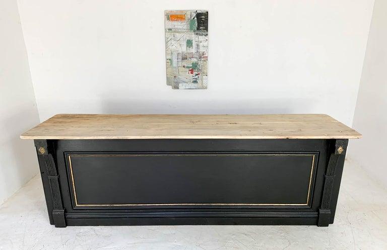 English Vintage Painted Black Haberdashery Shop Counter Kitchen Island
