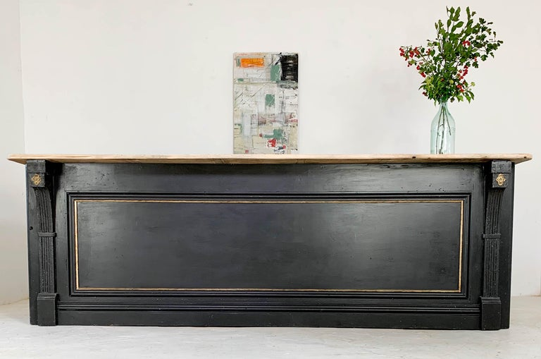 Vintage Painted Black Haberdashery Shop Counter Kitchen Island In Good Condition In Culverthorpe, Lincs