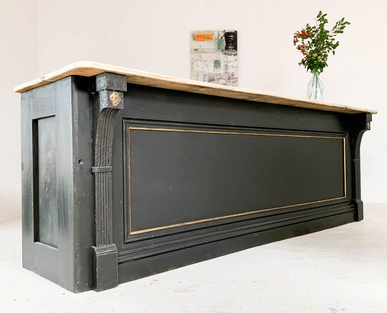 Early 20th Century Vintage Painted Black Haberdashery Shop Counter Kitchen Island