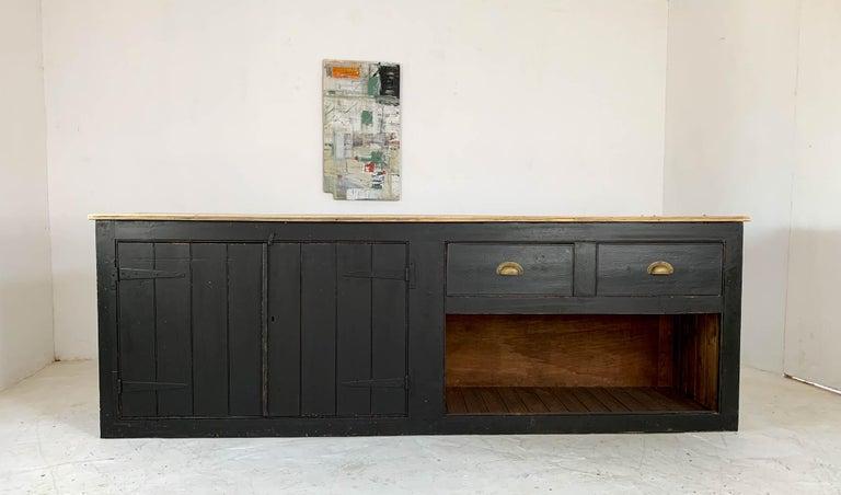 Pine Vintage Painted Black Haberdashery Shop Counter Kitchen Island