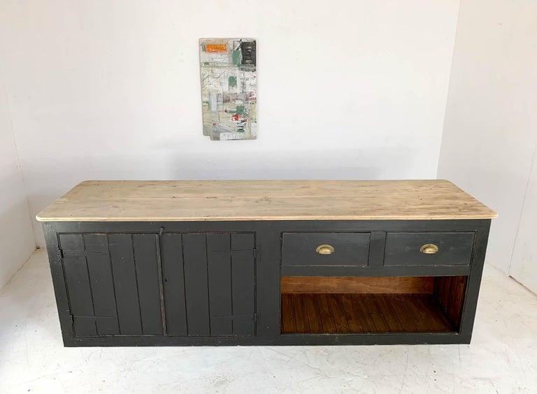 Vintage Painted Black Haberdashery Shop Counter Kitchen Island 1