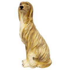 Vintage Painted Ceramic Dog Sculpture, 1960s