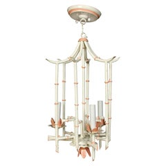 Vintage Painted Faux Bamboo Chandelier Lantern