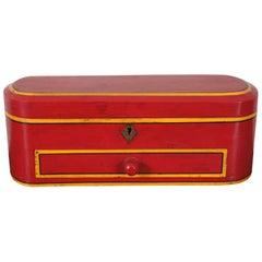 Vintage Painted Folk Art Locking Wood Jewelry Trinket Keepsake Storage Box