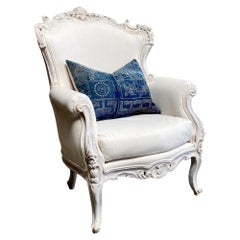 Vintage Painted French Style Wing Back Bergere Chair