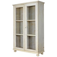 Vintage Painted Glass Display Cabinet, Glazed Cupboard