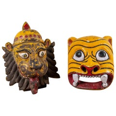 Vintage Painted Indian Masks, 20th Century