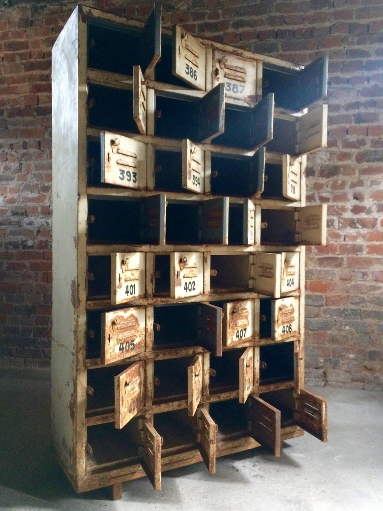 20th Century Vintage Painted Metal Lockers Cabinet For