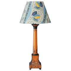 Vintage Painted Metal Table Lamp with Customized Shade, France Late 19th-Century