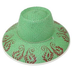 Vintage Painted Mint Green Straw Beach Hat