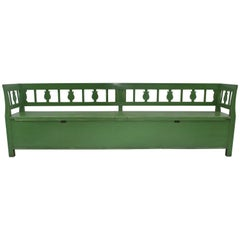 Vintage Painted Pine and Oak Storage Bench or Settle