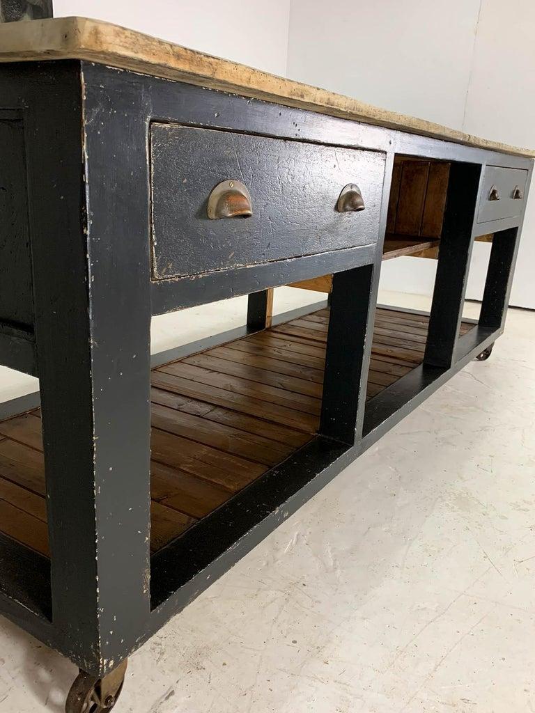 Vintage Industrial Workbench Pine Baker's Table Kitchen ...