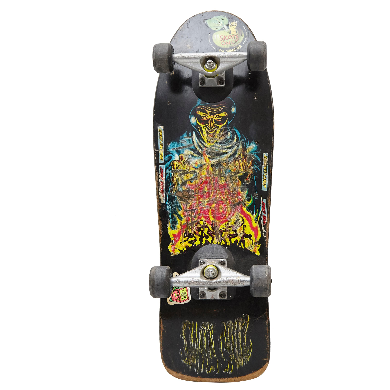 Vintage Painted Santa Cruz Skateboard, circa 1989