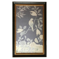 Vintage Painted Silk Bird Panel