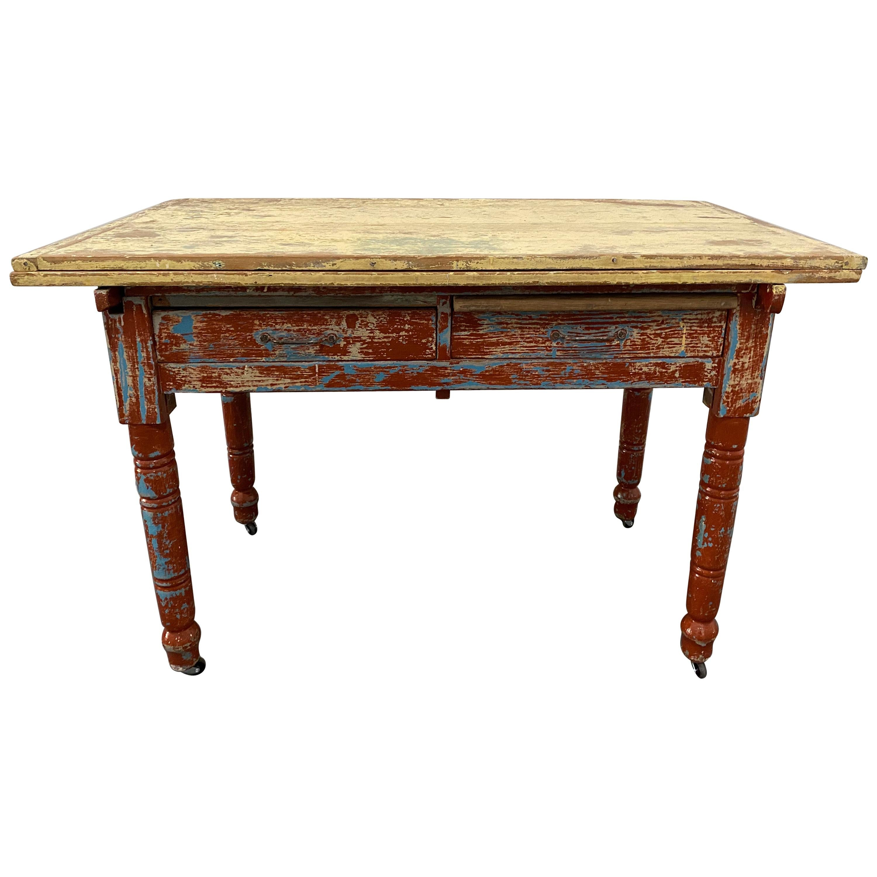 Vintage Painted Table with Two Drawers and Turned Legs, circa 1930