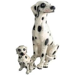 Vintage Painted Terracotta Dalmatian Dogs, 1960s