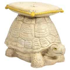 Vintage Painted Terracotta Turtle Garden Seat