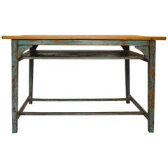Vintage Painted Wood School Desk