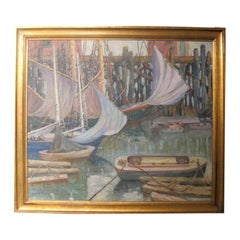Vintage Painting Of A Harbor