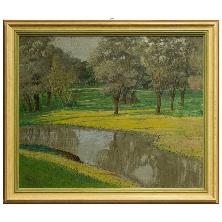 """Vintage Painting """"Quiet countryside"""" For Sale"""