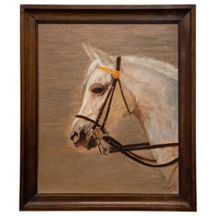 Vintage Painting with White Horse
